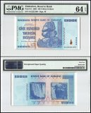 Zimbabwe 100 Trillion Dollars, 2008, P-91, Fancy Serial #, PMG 64