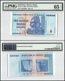 Zimbabwe 100 Trillion Dollars, 2008, P-91, Fancy Serial #, PMG 65