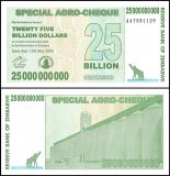 Zimbabwe 25 Billion Dollars Special Agro Cheque, 2008, P-62, UNC