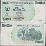 Zimbabwe 25 Million Dollars Bearer Cheque, 2008, P-56, Used