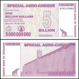 Zimbabwe 5 Billion Dollars Special Agro Cheque, 2008, P-61, UNC
