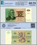 Finland 10 Markkaa Banknote, 1980, P-112a, UNC, TAP 60 - 70 Authenticated
