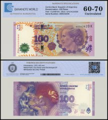 Argentina 100 Pesos Banknote, 2012, P-358b, UNC, TAP 60 - 70 Authenticated