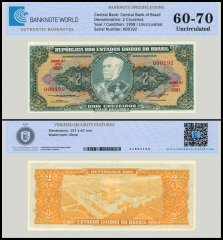 Brazil 2 Cruzeiros Banknote, 1958, P-157Ac, UNC, TAP Authenticated