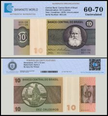 Brazil 10 Cruzeiros Banknote, 1979, P-193c, AU-About Uncirculated, TAP 60-70 Authenticated