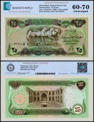 Iraq 25 Dinars Banknote, 1980, P-66b, UNC, TAP 60 - 70 Authenticated
