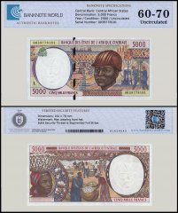 Central African States - Gabon 5,000 Francs Banknote, 2000, P-404Lf, UNC, TAP 60-70 Authenticated