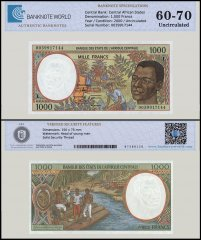Central African States -Gabon 1,000 Francs Banknote, 2000, P-402Lg, UNC, TAP 60 - 70 Authenticated