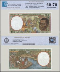 Central African States - Equatorial Guinea 1,000 Francs Banknote, 2000, P-502Nh, UNC, TAP 60 - 70 Authenticated