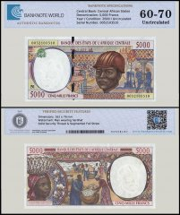 Central African States - Equatorial Guinea 5,000 Francs Banknote, 2000, P-504Nf, UNC, TAP 60-70 Authenticated