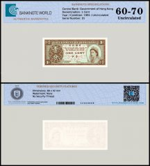 Hong Kong 1 Cent Banknote, 1981, P-325c, UNC, TAP 60-70 Authenticated