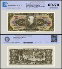 Brazil 5 Cruzeiros Banknote, 1962, P-176a, UNC, TAP Authenticated