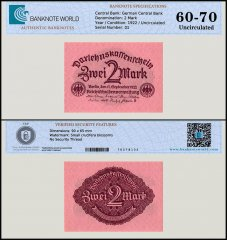 Germany 2 Mark Banknote, 1922, P-62, UNC, TAP 60-70 Authenticated