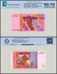 West African States 1,000 Francs Banknote, 2003, P-715Ka, Prefix-K, UNC, TAP 60 - 70 Authenticated