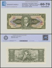 Brazil 1 Centavo on 10 Cruzeiros Banknote, 1967, P-183b, UNC, TAP Authenticated