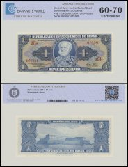 Brazil 1 Cruzeiros Banknote, 1954-58, P-150d, UNC, TAP Authenticated
