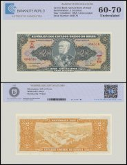 Brazil 2 Cruzeiros Banknote, 1955, P-157, UNC, TAP Authenticated