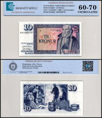 Iceland 10 Kronur Banknote, 1961, P-48a, UNC, TAP 60-70 Authenticated
