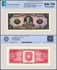Ecuador 5 Sucres Banknote, 1988, P-113d, UNC, TAP 60 - 70 Authenticated