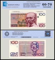 Belgium 100 Francs Banknote, 1978, P-140, UNC, TAP 60 - 70 Authenticated