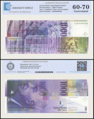 Switzerland 1,000 Franken Banknote, 2012, P-74d, UNC, TAP Authenticated