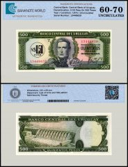 Uruguay 0.50 Nuevo Peso On 500 Pesos Banknote, 1975, P-54a, UNC, TAP 60 - 70 Authenticated