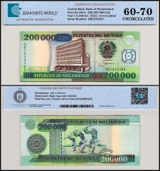 Mozambique 200,000 Meticais Banknote, 2003, P-141, UNC, TAP 60-70 Authenticated