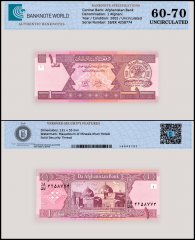 Afghanistan 1 Afghani Banknote, 2002, P-64a, UNC, TAP 60-70 Authenticated