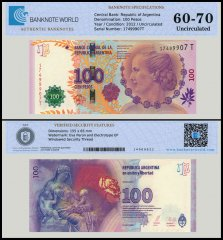 Argentina 100 Pesos Banknote, 2012, P-358, UNC, TAP 60 - 70 Authenticated