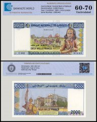 Djibouti 2,000 Francs Banknote, 1997, P-40a, UNC, TAP Authenticated