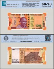 India 200 Rupees Banknote, 2019, P-113c, UNC, TAP 60-70 Authenticated
