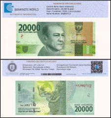 Indonesia 20,000 Rupiah Banknote, 2016, P-158a, UNC, TAP Authenticated