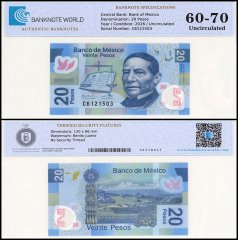 Mexico 20 Pesos Banknote, 2016, P-122, Series AA, UNC, TAP 60-70 Authenticated
