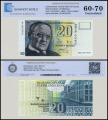 Finland 20 Markkaa Banknote, 1993, P-122, UNC, TAP 60 - 70 Authenticated