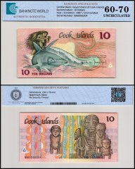 Cook  Islands 10 Dollars Banknote, 1987, P-4a, UNC, TAP 60-70 Authenticated
