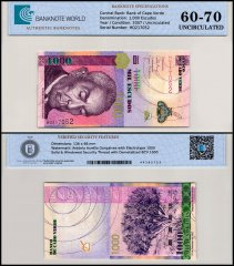 Cape Verde 1,000 Escudos Banknote, 2007, P-70, UNC, TAP 60-70 Authenticated