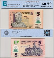 Nigeria 5 Naira Banknote, 2013, P-38d, Polymer, UNC, TAP 60-70 Authenticated