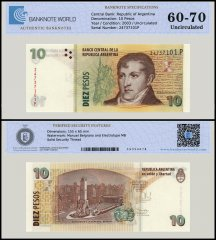 Argentina 10 Pesos Banknote, 2003, P-354a, UNC, TAP 60 - 70 Authenticated