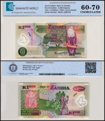 Zambia 1,000 Kwacha Banknote, 2005, P-44d, UNC, TAP 60-70 Authenticated