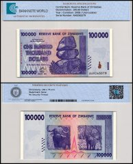 Zimbabwe 100,000 Dollars Banknote, 2008, P-75, UNC, 50 & 100 Trillion Series, TAP 60-70 Authenticated