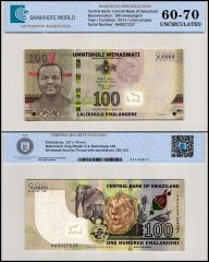 Swaziland - Eswatini 100 Emalangeni Banknote, 2017, P-42a, UNC, TAP 60-70 Authenticated