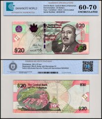 Bahamas 20 Dollars Banknote, 2010, P-74A, UNC, TAP 60-70 Authenticated