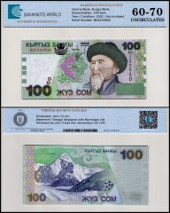 Kyrgystan 100 Som Banknote, 2002, P-21a, UNC, TAP 60-70 Authenticated