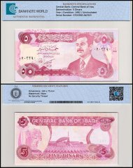 Iraq 5 Dinars Banknote, 1992, P-80a, UNC, TAP 60-70 Authenticated