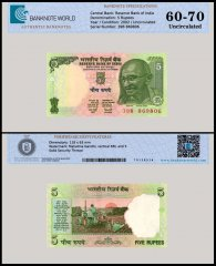 India 5 Rupees Banknote, 2002, P-88Ad, UNC, TAP 60 - 70 Authenticated