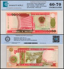 Mozambique 100,000 Meticais Banknote, 1993-1995, P-139, UNC, TAP 60-70 Authenticated