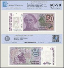 Argentina 50 Australes Banknote, 1986, P-326Bb, UNC, TAP 60 - 70 Authenticated