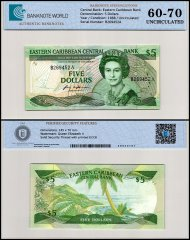 East Caribbean States - Antigua 5 Dollars Banknote, 1988, P-22a1, UNC, TAP 60-70 Authenticated