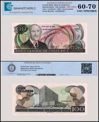 Costa Rica 100 Colones Banknote, 1992, P-258s, Serial # G00000297, UNC, Specimen, TAP Authenticated