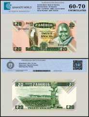 Zambia 20 Kwacha Banknote, 1980 - 1988, P-27e, Serial # 48/E 254226, UNC, TAP 60 - 70 Authenticated